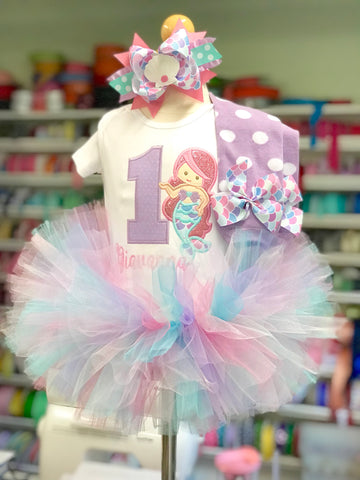 Mermaid Birthday Tutu Outfit for girls - Darling Little Bow Shop