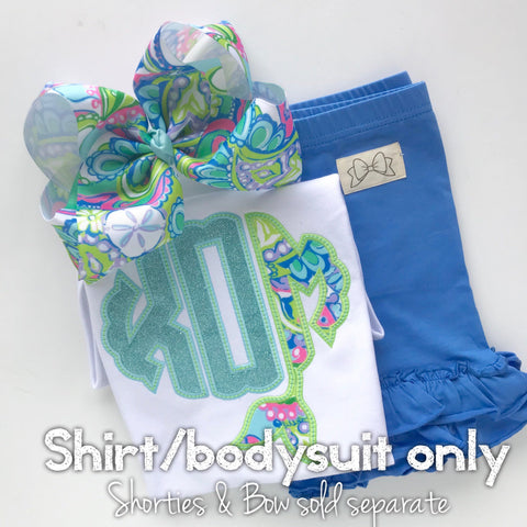 Mermaid Girls shirt, ruffle shirt, tank or bodysuit - Magical Mermaid Monogram - light blue and Lilly inspired monogram - Darling Little Bow Shop