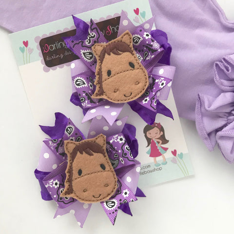 Horse Cowgirl purple hairbows choose single bow or pigtail set - Darling Little Bow Shop