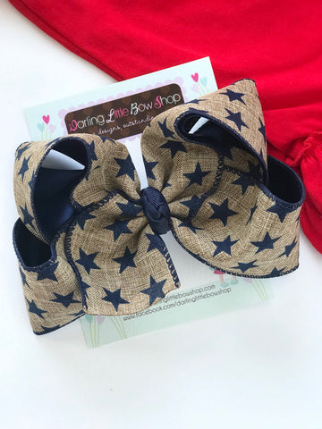 "Burlap Bow for 4th of July, navy stars in burlap-look ribbon, choose 4-5"" or 6"" - Darling Little Bow Shop"