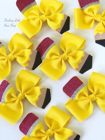 Pencil HairBows - order as a single bow or pigtail set - perfect for kindergarten or preschool - Darling Little Bow Shop