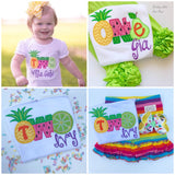 Tutti Frutti Pineapple Birthday Shirt or bodysuit for girls, Pineapple Shirt with ONE or TWO - Tutti Frutti - pineapple theme birthday shirt - Darling Little Bow Shop
