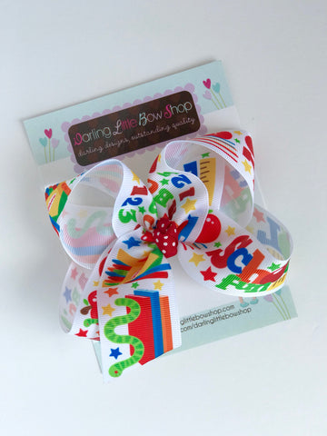 "School bow, School hairbow, crayons, bookworm, School Fun, ABC 123 - choose 4-5"" or 7"" bow - Darling Little Bow Shop"