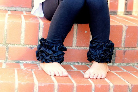LIMITED Black Ruffle Leggings - black knit ruffle leggings - comfy knit ruffle pants size Newborn to 10 - Darling Little Bow Shop