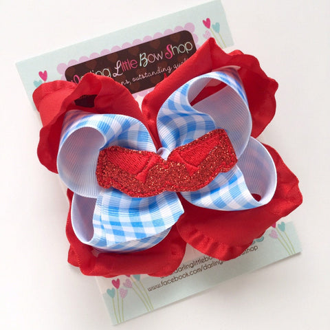 Ruby Slippers Hairbow, Dorothy Wizard of Oz hairbow - Darling Little Bow Shop