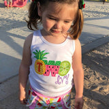 Tutti Frutti Strawberry Birthday Shirt or bodysuit for girls, Pineapple, Strawberry, Watermelon Shirt with ONE or TWO - Tutti Frutti - Darling Little Bow Shop