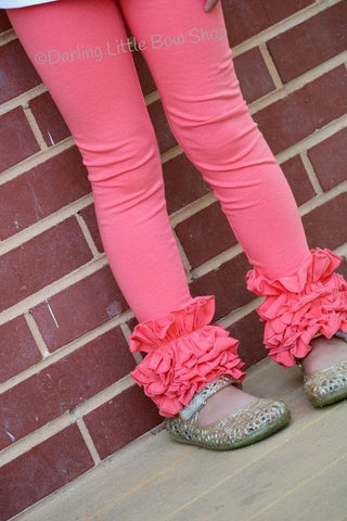 Coral Ruffle Leggings - Coral Icings Ruffle Leggings - gorgeous knit ruffle leggings - size NB to 10 - Darling Little Bow Shop