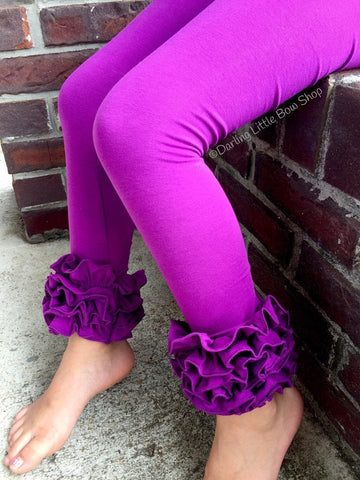 Pretty Plum Ruffle Leggings - Plum Icings Ruffle Leggings - Darling Little Bow Shop