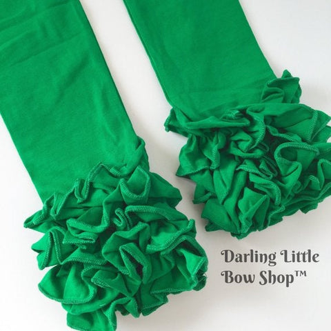 Emerald Green Ruffle Leggings - Kelly Green Ruffle Leggings - gorgeous knit ruffle leggings - size NB to 10 with FREE SHIPPING - Darling Little Bow Shop