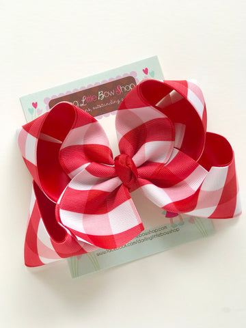 "Red Gingham Hairbow, Red Plaid hairbow -- 6"" or 4-5"" - Darling Little Bow Shop"
