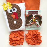 "Turkey HairBow - Thanksgiving Bow choose 4-5"" or 6"" - Darling Little Bow Shop"