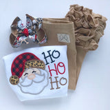 Girls Santa shirt or bodysuit -- HoHoHo Santa -- buffalo plaid and leopard santa - Darling Little Bow Shop