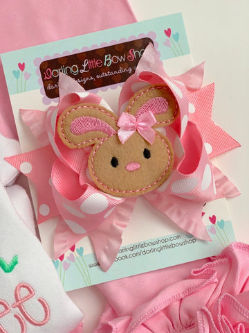 Easter Bunny Bow -- pink and white Easter Bow -- Hippity Hop -- Large bow with bunny center - Darling Little Bow Shop