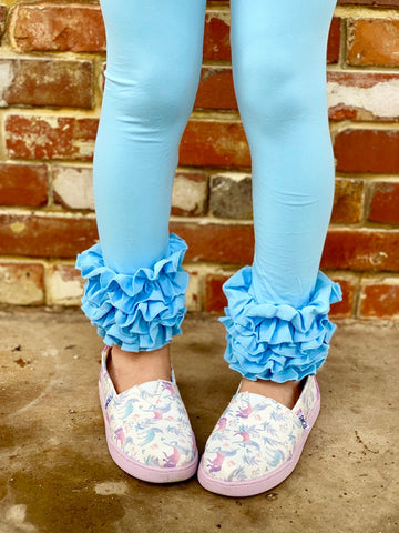 Cotton Candy Blue Ruffle Leggings - Light Blue Ruffle Leggings - gorgeous knit ruffle leggings - size NB to 10 with FREE SHIPPING - Darling Little Bow Shop