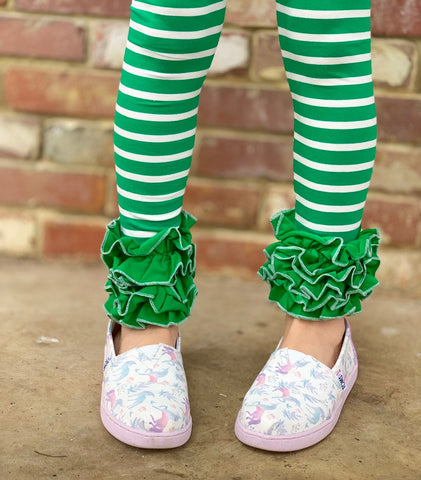Emerald Green Striped Ruffle Leggings - Kelly Green Ruffle Leggings - gorgeous knit ruffle leggings - size NB to 10 with FREE SHIPPING - Darling Little Bow Shop