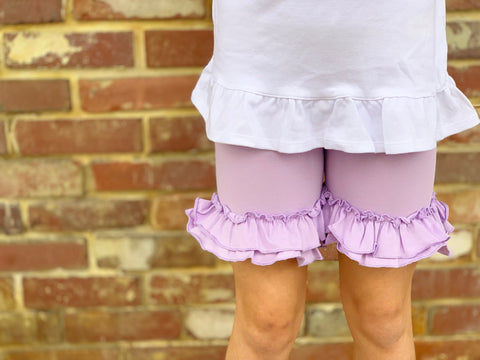 Lavender Ruffle Shorties, Light purple Ruffle Shorts - Darling Little Bow Shop