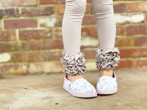 Light Gray Ruffle Leggings - April Showers Ruffle Leggings - gorgeous knit ruffle leggings - size NB to 10 with FREE SHIPPING - Darling Little Bow Shop
