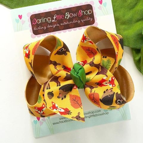 "Fox Bow, Woodland Animals hairbow orange, green and gold - choose 4-5"" or 6-7"" - Darling Little Bow Shop"
