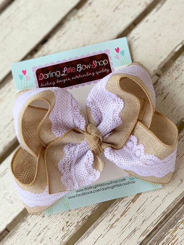 "Burlap and Lace Bow -- Burlap and Lace 6"" hairbow - Darling Little Bow Shop"