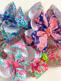 "Lilly Pulitzer inspired bows hairbows 6 prints available 4"", 5"" double or 7"" bows - Darling Little Bow Shop"
