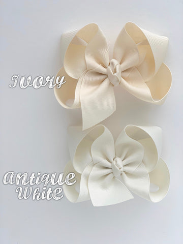 "Ivory Bow, Offwhite Hairbow -- CHOOSE from 2 shades -- 3"" 4"" 5"" or 6"" bow - Darling Little Bow Shop"