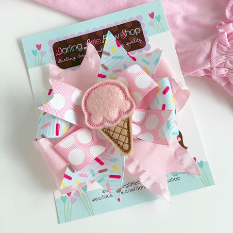 Ice Cream Hairbow in pastel colors pink and ice mint -- Ice Cream Cone Bow in layered style -- optional elastic headband - Darling Little Bow Shop