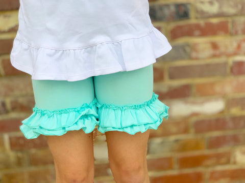 Ice Mint Ruffle Shorties, Mint aqua Ruffle Shorts - knit ruffle shorties sizes 6m to girls 10 - Free Shipping - Darling Little Bow Shop