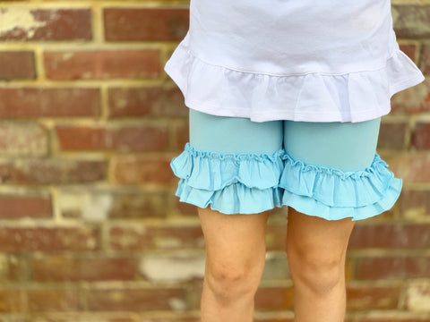 Cotton Candy Blue Ruffle Shorties, Light Blue Ruffle Shorts - Darling Little Bow Shop