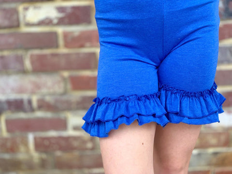 Royal Blue Ruffle Shorties, Heather Royal Blue Ruffle Shorts - Darling Little Bow Shop