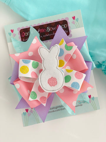 Easter Bunny Bow -- gray and white Easter Bow -- Sister Rabbit -- double stack ruffle bow with bunny center - Darling Little Bow Shop