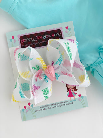 "Peep bow, Peep hairbow in pink, light purple, yellow and aqua -- choose 4"" or double stack bow - Darling Little Bow Shop"