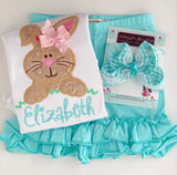 Girls Easter Bunny Shirt or Bodysuit - Hippity Hop - pastel aqua, pink, mint - Darling Little Bow Shop