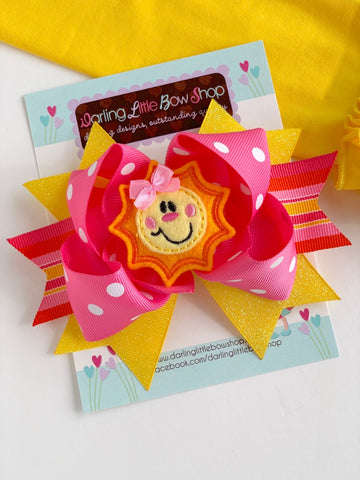 Sunshine Bow - You Are My Sunshine - Hot pink, yellow and orange hairbow with adorable, sun center by Darling Little Bow Shop - Darling Little Bow Shop