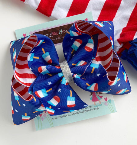 "Bomb Pop bow -- 4th of July Bomb Pop bow in red, white and blue -- choose 4-5"" or 6-7"" bow - Darling Little Bow Shop"