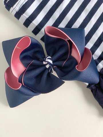 "Pink and Navy bow, pink and navy hairbow -- choose 4-5"" or 6-7"" bow - Darling Little Bow Shop"