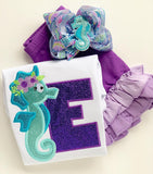 Seahorse bow, Mermaid hairbow, seashell hairbow, purple and aqua Seahorse theme hair bow made with lilly Pulitzer ribbon - Darling Little Bow Shop