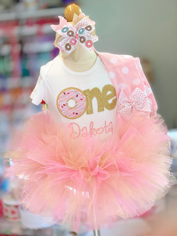 Donut Birthday Tutu Outfit, Sweet ONE in pink and gold - Darling Little Bow Shop