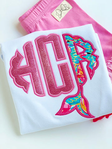 Mermaid Flamingo Girls shirt, ruffle shirt, tank or bodysuit - Magical Mermaid Monogram, pink flamingo and Lilly inspired - Darling Little Bow Shop