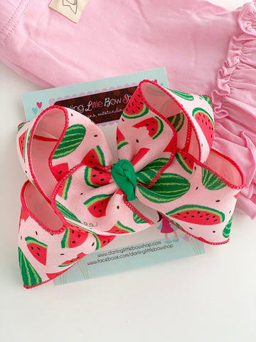 "Watermelon bow -- 6"" hairbow with optional headband - Darling Little Bow Shop"