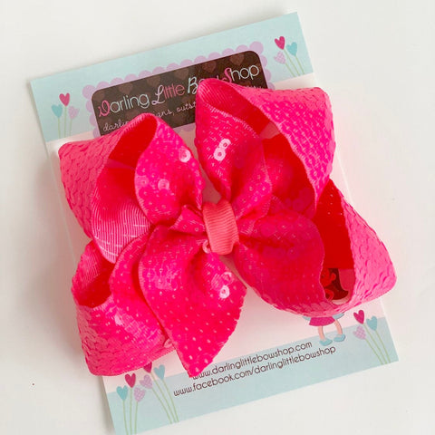 "Neon Pink Sequin HairBow 4-5"" size - Darling Little Bow Shop"