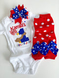 Baby Girl First 4th of July bodysuit, shirt or tank - 1st 4th of July eagle - Darling Little Bow Shop