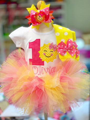 Sunshine First Birthday Tutu Outfit - You Are My Sunshine Birthday Outfit - Darling Little Bow Shop