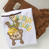 Daddy's Monkey Shirt or Bodysuit for girls -- Father's Day monkey theme shirt for girls - Darling Little Bow Shop