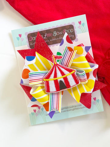 Circus Tent Hairbow in bright rainbow colors -- Circus Bow in layered style -- optional elastic headband - Darling Little Bow Shop