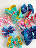 "Hairbows to match Matilda Jane Brilliant Daydream - Popsicle Stand - choose 4-5"" or 6"" bow - Darling Little Bow Shop"
