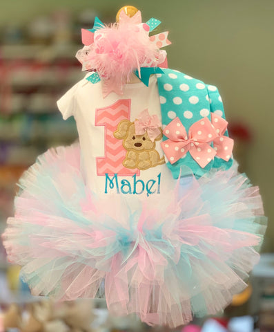 Puppy First birthday Tutu outfit, A Puppy Pawty - Darling Little Bow Shop