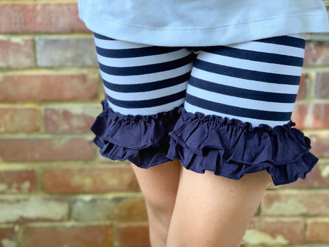 Navy and white striped Ruffle Shorts - Darling Little Bow Shop