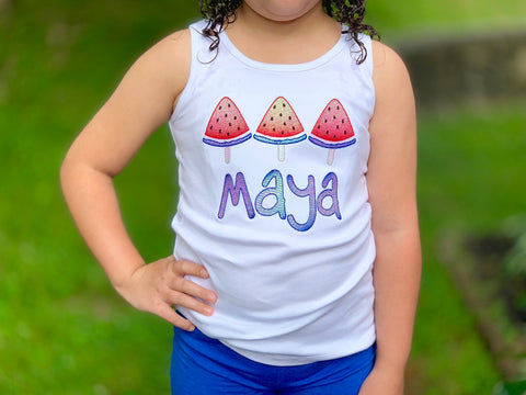 Watermelon Girls shirt, tank or bodysuit for 4th of July -- holographic red white and blue - Darling Little Bow Shop