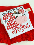 Cow Birthday Shirt or bodysuit for girls, Moo Moo I'm TWO - Darling Little Bow Shop