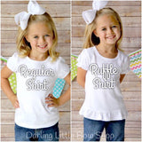 Girls School Shirt, sweet Apple shirt with rainbow pennant - Apple-solutely Sweet - Darling Little Bow Shop